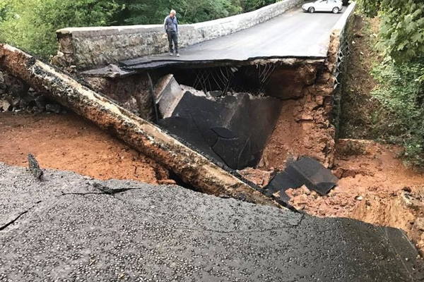 Horror as bridge suffers massive collapse just days after strengthening work