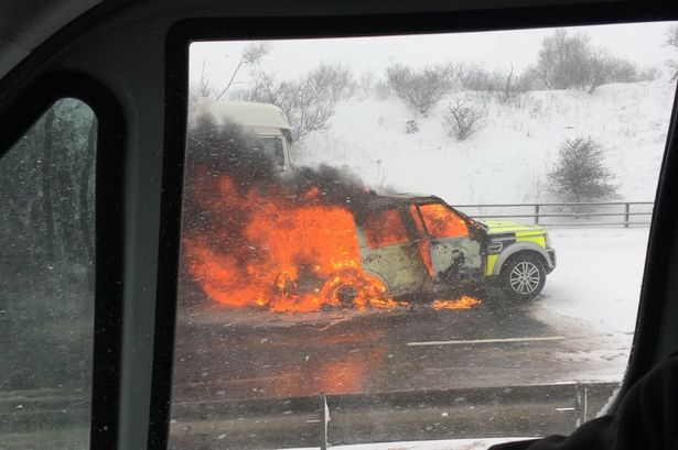 Highways England 4x4 bursts into flames on M62 during road block