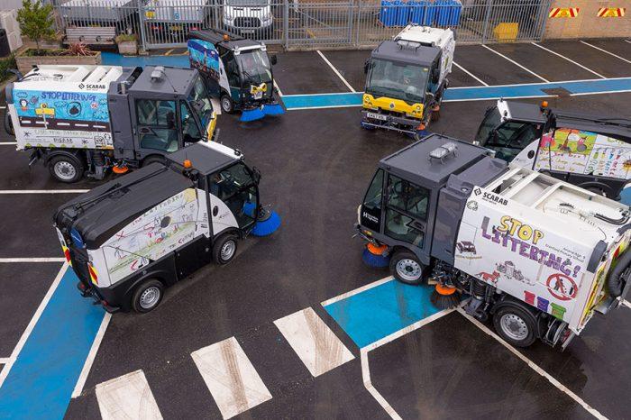 Hounslow Highways   Unveiling new sweeper fleet with designs by local school children