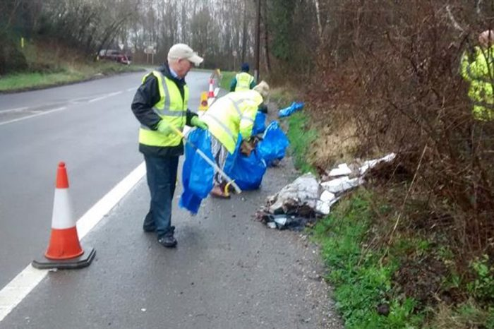 Villagers defy warnings from Highways England and clear roadside rubbish